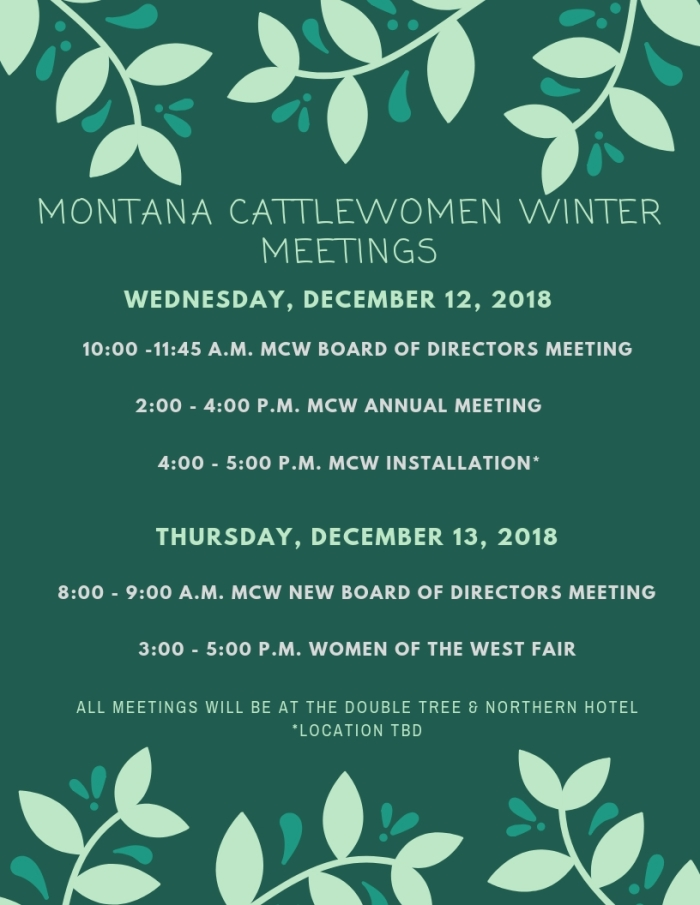 Montana CattleWomenSchedule of Events